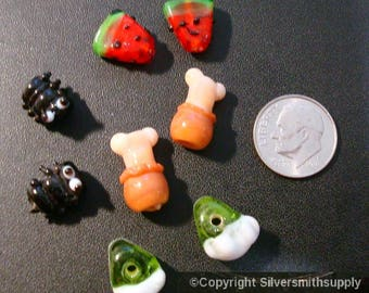 Picnic themed glass lamp work beads ants drumsticks pie watermelon beads GBS001