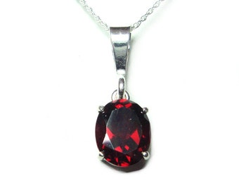 Garnet sterling silver pendant with chain
