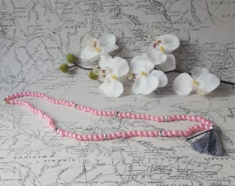 BERNHARDINE woman beads pink and gray tassel NECKLACE