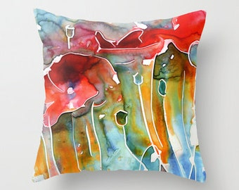 Poppy Field Watercolor Throw Pillow Cover