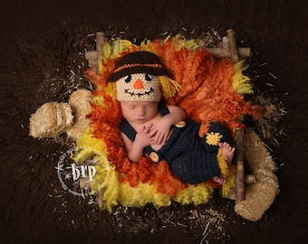 Newborn Scarecrow Photo Prop/ Baby Photo Prop/ Boy Photo Prop/  Crochet Scarecrow Hat/ Halloween Costume for Newborn Fall Photo Prop