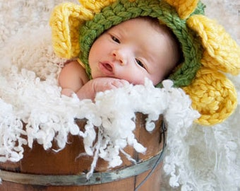 Gently Used Flower Crochet Hat for Newborns/Newborn Photography (Does Not Include Diaper Cover)