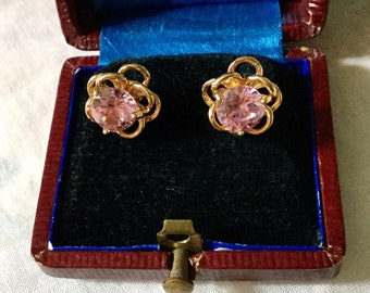 Vintage PINK TOPAZ GOLD Plated Earrings - Art Deco Beautiful Earrings - Sparkly Stone Topaz pink - Luxury Vintage Jewelry - from France