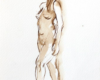 Dessin de Nu Original Figure Drawing, Female Standing Tall, Ink on Paper Mounted on Panel, 5x7 Shelf Decor, 5x7 Wall Decor, Fine Art Nude,