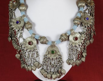 Rich vintage Kuchi beaded necklace with seven noisy pendants