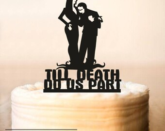 Wedding Cake Topper,Halloween Wedding Cake Topper,Adams Family,Morticia and Gomez topper,Till Death Do Us Part,halloween cake topper 243