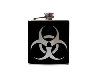 Bio-Hazard Flask- game alcohol, liquor, booze, wedding, bridal party, hip pocket- Personalized Custom - YOU pick COLOR