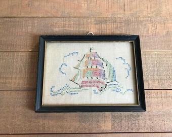 1930s Ship Cross Stitch, Vintage Cross Stitch, Vintage Home Decor, Handmade, Nautical Decor