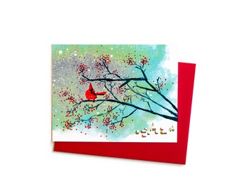 Cardinal and Wild Berries, Single Blank Card, Holiday Card, Christmas Card, Sympathy Card