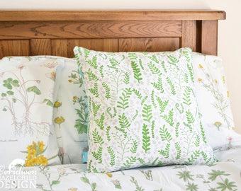 Green Ferns Decorative Throw Cushion, Cushion Cover, Throw Cushion, Pillow, Decorative Cushion, Floral Cushion Cover