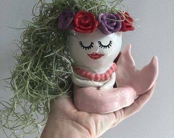 Handmade ceramic mermaid planter,vase