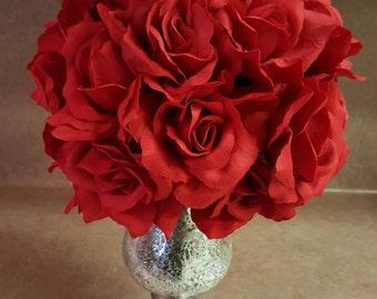 RED Flower Ball, Red WEDDING Centerpiece, Red Kissing Ball, Red Pomander, Flowerball, Wedding Decorations, Valentines Day