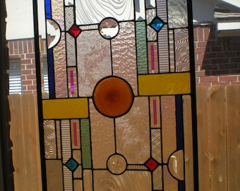 "Stained Glass Window Panel Hanging ""Brilliant"" 15 1/2"" x 28 1/2"""