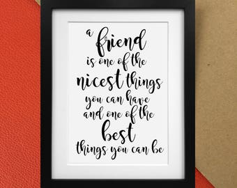 "AA Milne Winnie the Pooh ""A Friend is the greatest"" quote print Poster"