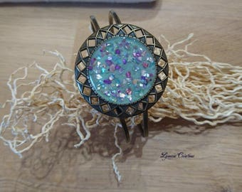 Bronze Bangle with inlay of mother of Pearl cuff bracelet, women bracelet, women jewelry, handmade