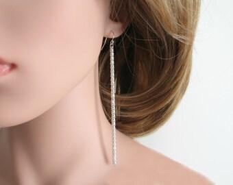 Long silver chain earrings. Chain earrings. Long silver dangle earrings. Long silver earrings. Silver chain earrings. Simple earrings. E-033