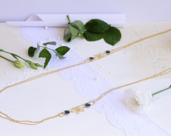 Long gold necklace, Gold long necklace for women, Gold and blue necklace, Layered necklace women, Layered necklace, Blue stone necklace