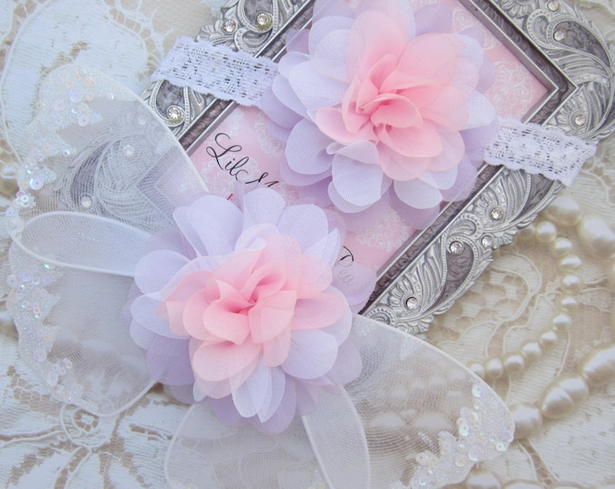 Pink, Lavender and White wing set for newborn photos, prop, newborn photographers, new baby, baby girl, baby wings by Lil Miss Sweet Pea