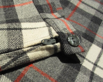 vintage Florence Eisman plaid wool pleated skirt for girls  black red white grey