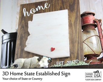 Arizona State Sign Family Established Sign Rustic Home Decor Custom Sign Personalized Anniversary Gift for Wedding Sign Housewarming Gift