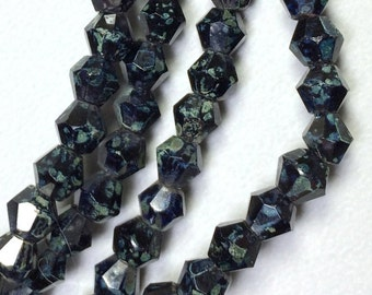 5mm jet black czech bicone beads, Premium Bohemian Czech Jet Picasso 5mm Bicone Beads