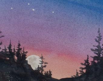 Constellations II, Watercolor Print, Night Sky, Fantasy, Moon Rising, Stars, Deep Blue, Moon, Trees, Silhouette