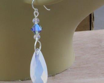Hand Made  Beaded Earrings Vintage Czech Glass  Beads Blue Milky Blue Clear Bicone On Niobium Hooks Oscarcrow 2 Inch Long