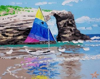 Beach art, coastal decor, beach, seascape, oil painting, boat, small wall art, colorful painting, textured wall art, seascape painting