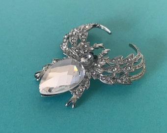 Rhinestone spider brooch, rhinestone spider pin, insect pin, insect brooch, rhinestone spider, clear rhinestone spider, insect jewelry