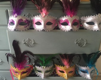 25 Mardi Gras Masquerade Halloween feather party favor