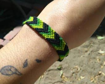 Green and Black Chevron Friendship Bracelet