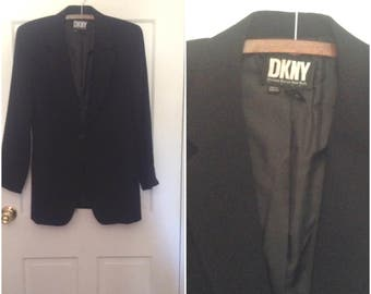 Vintage 1990s DKNY black wool blazer jacket // small 6 designer coat blazer suit workwear nineties 30 percent off