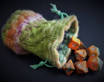 "Hand Knitted Drawstring Dice Bag Coin Pouch with Matching Dice - ""Shillelagh"""