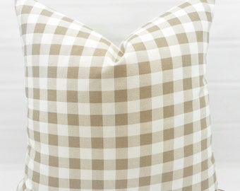 Ecru Pillow Cover. Ecru & White. Plaid Pillow cover . Country Style Pillow Case. 1 piece.  cotton. Select your size