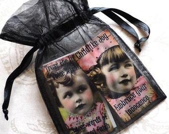 HEALING HOPE MAGNETS Set B set of four vintage collage girls inspirational gift