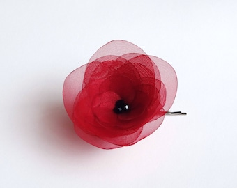 Large Red Organza Flower Hair Pin