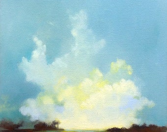 ARISING, oil painting landscape painting, original oil, 100% charity donation, stretched canvas 8x10 clouds,