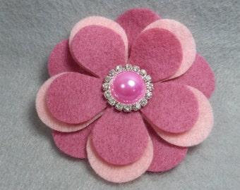 Felt Flower Brooch - Pink Flower Pin, Felt Pin, Felt Brooch, Fabric Flower, Felt Flower Pin, Felt Jewelry
