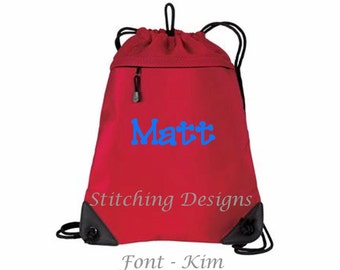 Personalized cinch backpack, draw string backpack, monogrammed backpack, mesh back, heavy material - 6 colors available