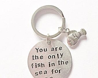 Handgestempelt Schlüsselanhänger - du bist der einzige Fisch im Meer für mich - Liebe Schlüsselanhänger - Fisch Schlüsselanhänger - romantisches Geschenk - Valentinsgrußgeschenk