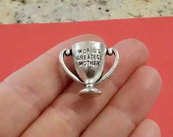 "2, ""WORLD'S GREATEST MOTHER"" Trophy Charm, Pendants 23x19x15mm,  Hole 9x3mm"