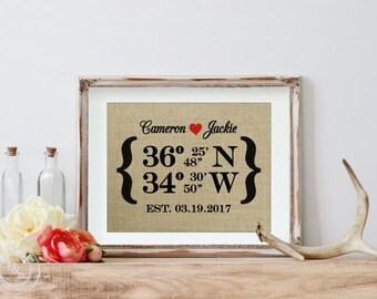 Coordinates Gifts, Destination Wedding Gift, Destination Wedding Burlap Print, Wedding Coordinates, Latitude Longitude Sign, Shower Gift