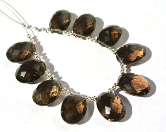10Pcs 15x9mm AAA Genuine Smoky Quartz Faceted Oval Briolettes Finest Quality Wholesale Price