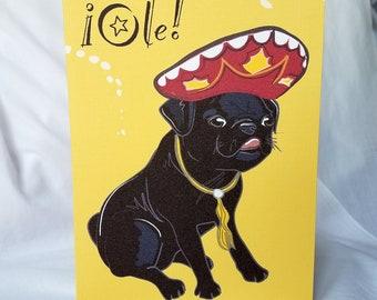 Fiesta Black Pug Greeting Card
