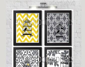 Bird Cage Mustard Yellow Grey White White Damask Prints, Set of (4) Wall Art Prints, Custom Colors Sizes Available, Custom Colors Available
