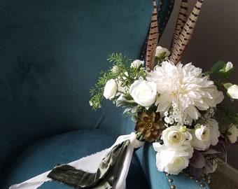 White Bohemian Bouquet, Cream Bohemian Bouquet, Dahlia Bouquet, Garden Bouquet, White Wedding Bouquet, Boho Chic