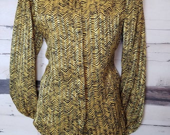 Vintage 1980s Silky Polyester Button Front Tiger Stripe Animal Print Collared Blouse Long Sleeves Jungle Size Small
