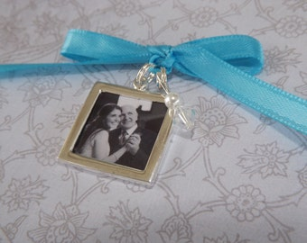 Something Blue Wedding Bouquet Photo Charm -Double Sided- PICTURE PRINTING INCLUDED