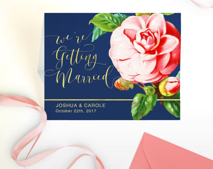 Getting Married personalized folded card, navy and coral, simple and elegant floral theme.