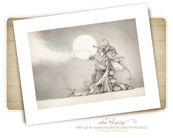 A limited edition ART PRINT (giclée) of Nalu the firefly faerie...by the Picsees